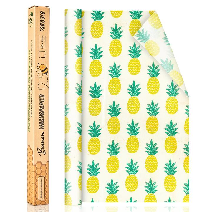 Wachspapier Rolle 100x33cm in 7 Muster Ananas